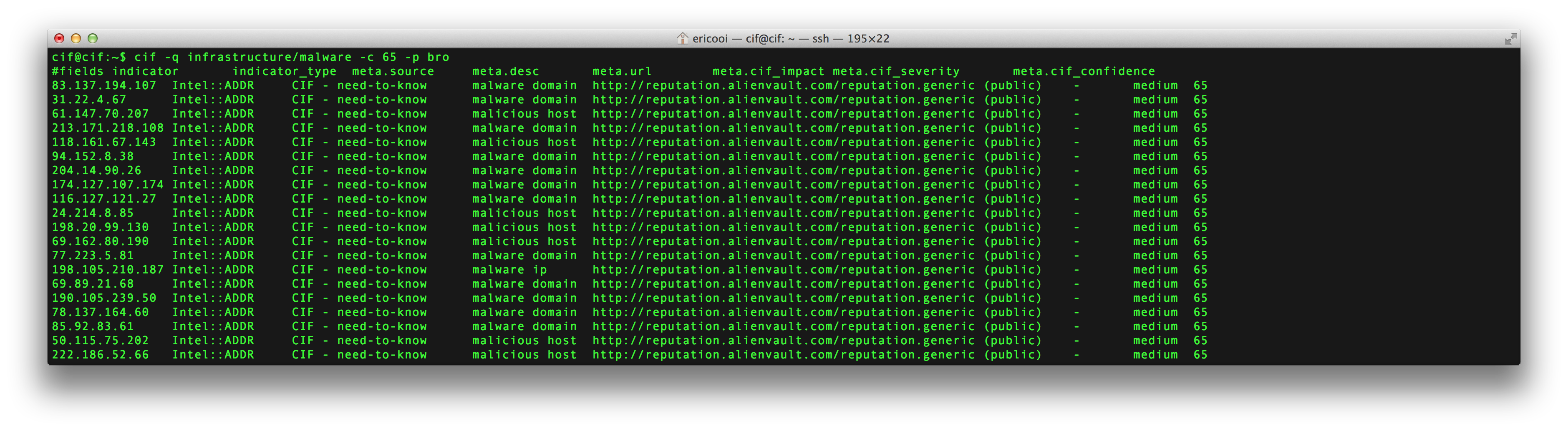 Malware IP Addresses (Bro): cif -q infrastructure/malware -c 65 -p bro
